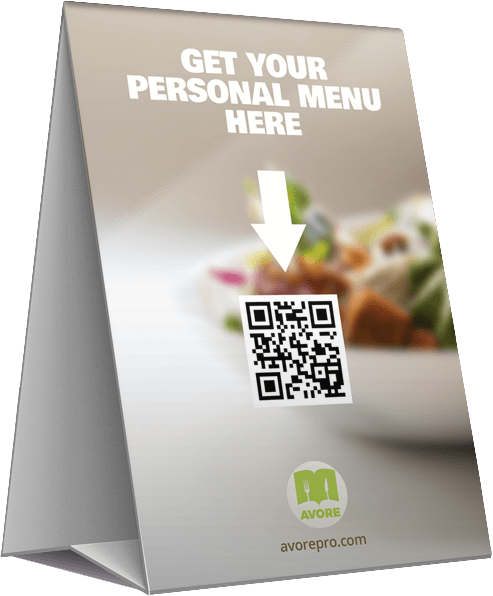 Table top menu scanned directly to your smartphone